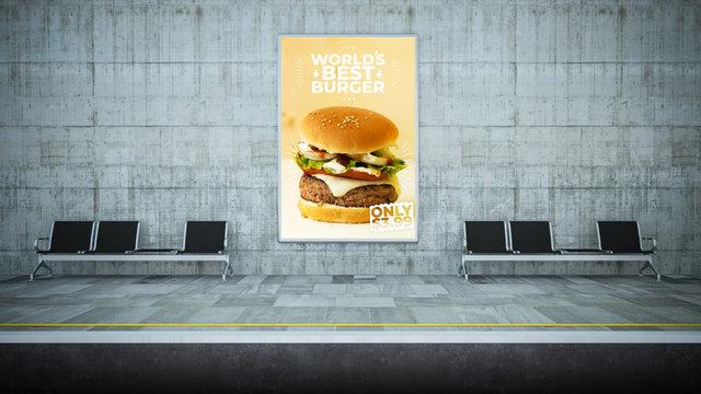 burger poster billboard mockup on underground station