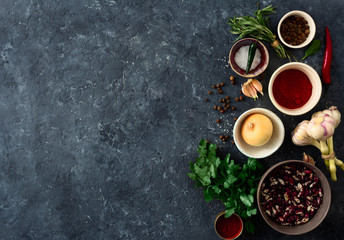 Food menu. Cooking table with group food. Vegetables, spices and herbs top view