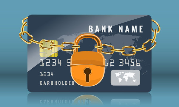 Credit card locked with golden chain and golden padlock. Protection and security concept. Vector illustration.