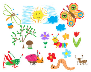 Children's drawings of insects, the sun and flowers. The child draws summer.