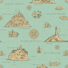 Vector abstract seamless background on the theme of travel, adventure and discovery. Old hand drawn map with islands, lighthouses, sailboats and inscriptions in retro style