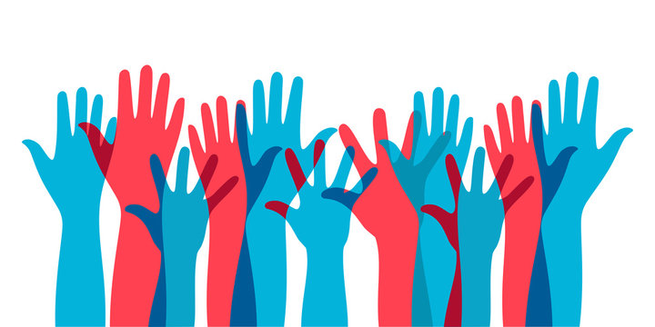 illustration of social interaction group activities by raising hands as a sign of expressing opinions in politics