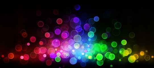 Retro Abstract Bokeh Colorful Lights On Black In Wave