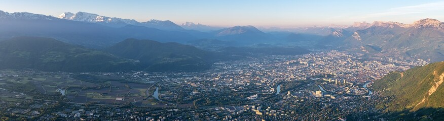 French landscape - Chartreuse. Panoramic view over the city of Grenoble with Vercors and Alps in the background.
