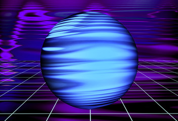 Wall Mural - Abstract Ultra Violet Waves Holographic background. Blurred dynamic composition of perspective grid lines and light-spots with sphere. Synthwave. Vaporwave style. Retrowave, retro futurism