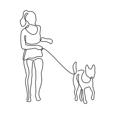 Girl walking with a dog continuous line vector illustration