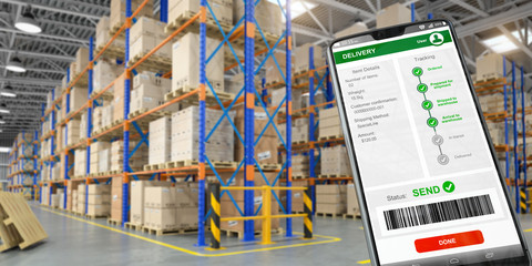 Smartphone and watrehouse. Warehousing,  storage, logistic and online shopping concept.
