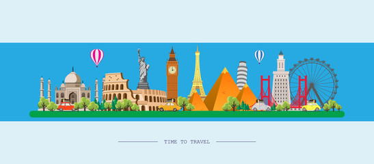 Obraz Travel to World. Road trip. Big set of famous landmarks of the world. Time to travel, tourism, summer holiday. Different types of journey. Flat design vector illustration - fototapety do salonu