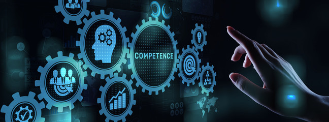 Competence Skill Personal development Business concept on virtual screen.