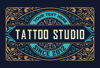 Tattoo logo template. Old lettering on dark background with floral ornaments. Vector layered