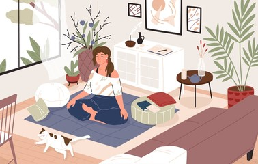 Smiling girl sitting cross-legged in her room or apartment, practicing yoga and enjoying meditation. Young woman with crossed legs and closed eyes meditating at home. Flat cartoon vector illustration.