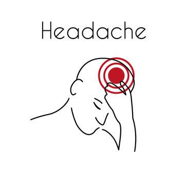 Vector Headache Linear Icon of Young Man