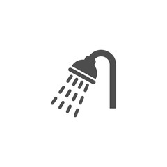 Shower, bathroom symbol vector glyph sign. Shower head with water drops pouring black isolated icon.