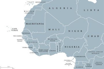 West Africa region, political map. Area with borders. The westernmost countries on the African continent, also called Western Africa. Gray illustration on white background. Vector.