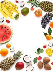 Fototapete - Various  fruits (watermelon, pineapple, coconut) isolated on white background, top view, creative flat layout. Concept of healthy eating, food background. Frame of  fruits with space for text.