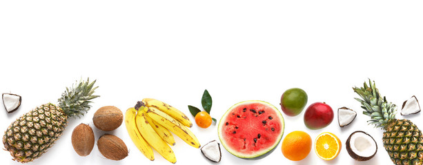 Fototapete - Banner from various tropical fruits isolated on white background, top view, creative flat layout. Concept of healthy eating, food background. Frame of  fruits with space for text.