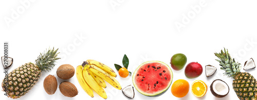 Fototapete Banner from various tropical fruits isolated on white background, top view, creative flat layout. Concept of healthy eating, food background. Frame of  fruits with space for text.