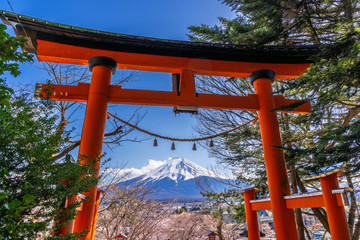 Wall Mural - Red pole and fuji mountains in Japan.