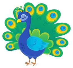 Poster Voor kinderen Stylized peacock topic image 1