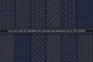 Collection of vector geometric seamless minimalistic patterns - simple goldish textures. Blue endless backgrounds