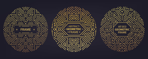 Vector set of art deco frames, edges, abstract geometric design templates for luxury products. Linear ornament compositions, vintage. Use for packaging, branding, decoration