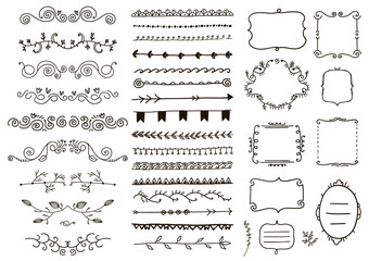 Vector floral ornament dividers. Hand drawn, doodle vines decoration, sketch leaves, swirl, curl ornaments. Ink flourish frames, borders