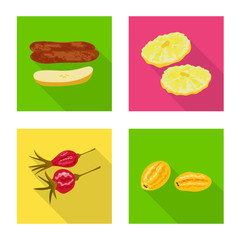 Fototapete - Vector design of fruit and dried  icon. Set of fruit and food  stock symbol for web.