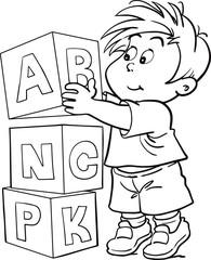 cartoon boy cube alphabet