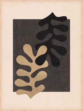 Matisse style leaf collage composition with vintage paper texture