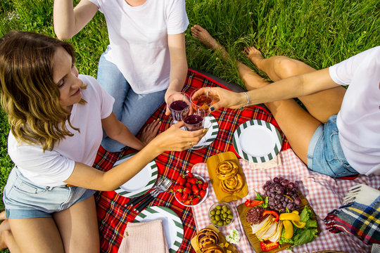 Spring and summer leisure in nature with delicious food and wine
