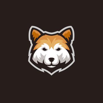 Shiba inu dog head mascot logo vector