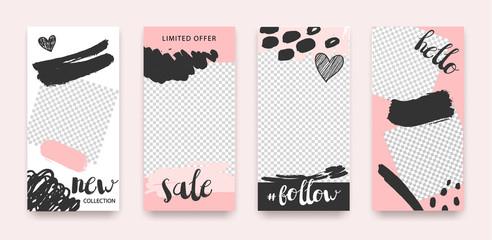Vector set of trendy editable templates for social networks, instagram stories, web banners, frames, illustration. Sale, fashion