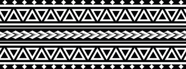 Tattoo tribal maori pattern bracelet, polynesian ornamental  border design seamless vector