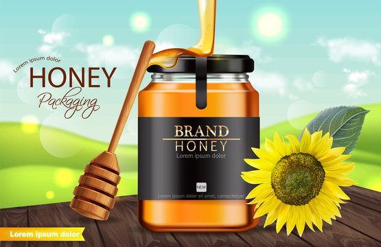 Honey sunflower Vector realistic mock up. Product placement label design. Detailed 3d illustrations