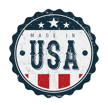 Made In USA Vintage Badge Seal/ Illustration of a cool vintage grunge textured made in USA badge seal certificate with stars and stripes and elegant typography