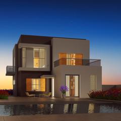 Modernes Haus bei Dämmerung im Sommer