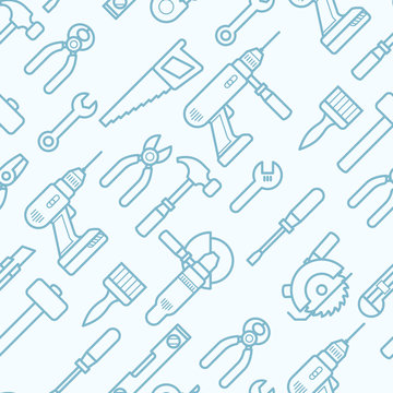 Work tools seamless pattern with thin line icons - pattern with puncher, drill, wrench, plane, saw, pliers,
