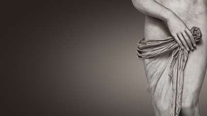 Marble body lines of young naked Roman woman of Renaissance Era at smooth gradient soft background as a banner, Rome, Italy
