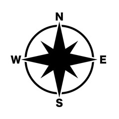 compass main directions icon black white background