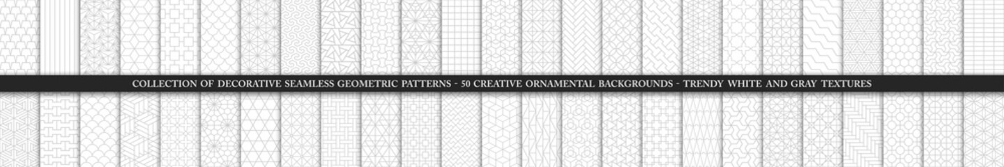 Tuinposter Kunstmatig Collection of seamless ornamental vector patterns and swatches. White and grey geometric oriental backgrounds.