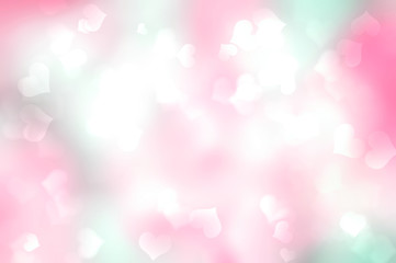 Wall Mural -  Color blurred background with hearts,holiday wallpaper