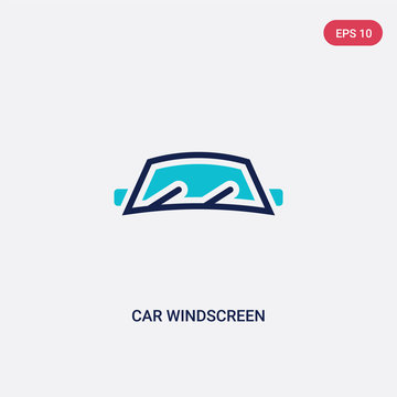 two color car windscreen vector icon from car parts concept. isolated blue car windscreen vector sign symbol can be use for web, mobile and logo. eps 10