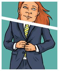 Erfolgreiche Geschäftsfrau mit Anzug als Karrierefrau
