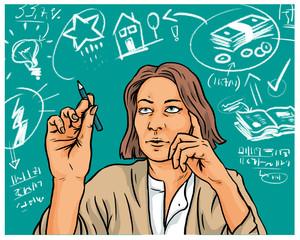 Geschäftsfrau kalkuliert Finanzierung von Start-Up
