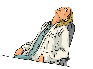 Müde Frau als Ärztin beim Ausruhen