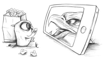 Wellensittich schaut Adler im Video Streaming zu