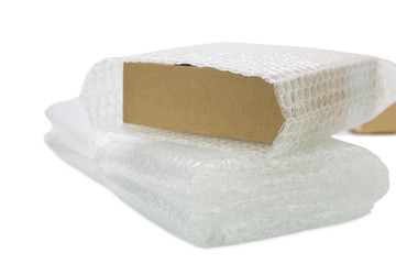 Bubbles covering the box by bubble wrap for protection product
