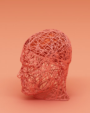 Abstract concept colorful of men and his brain. 3d rendering