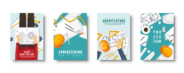 Engineering and architecture flat style covers set. Drawing construction. Architectural project. Design and sketching. Workspace with tools. Planning, building. Vector illustration.