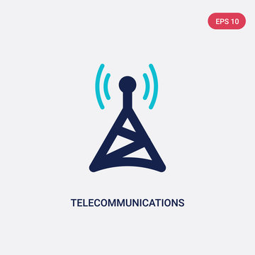 two color telecommunications vector icon from computer concept. isolated blue telecommunications vector sign symbol can be use for web, mobile and logo. eps 10